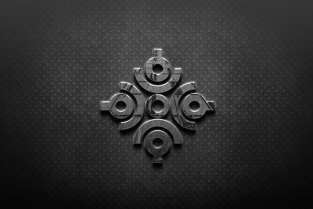 Makieta metalowego logo na ścianie
