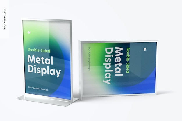 Makieta metalowego wyświetlacza biurkowego dwustronnego plakatu, widok z przodu