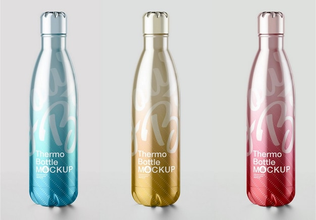 Makieta Metalowej Butelki Termicznej Premium Psd