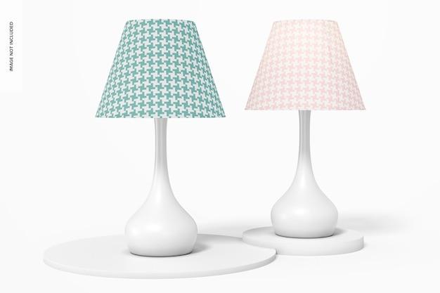 Makieta metalowych lamp stołowych z grzybami