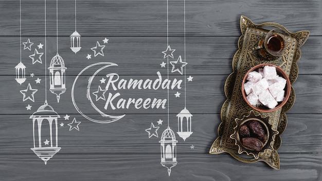 Makieta miejsce z koncepcją ramadanu
