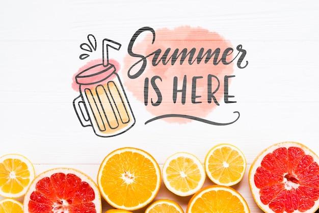 Makieta mieszkanie świeckich copyspace z letnich owoców