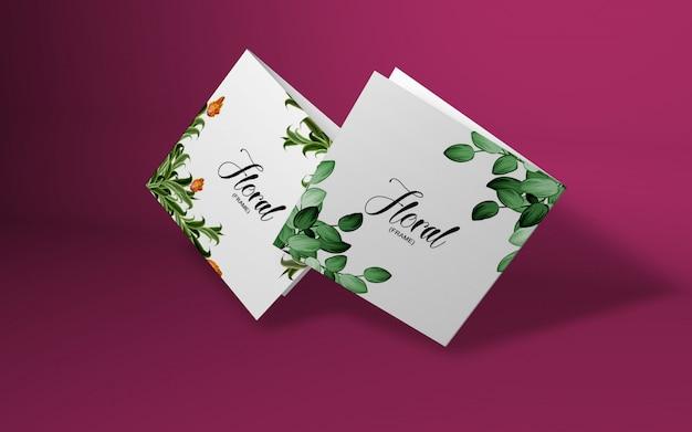 Makieta minimalistyczna karta z gałęzi wiśni