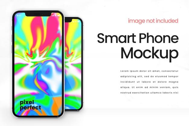 Makieta minimalistyczny inteligentny telefon na białym tle