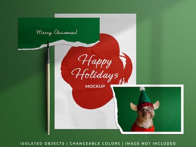 Makieta moodboard papeterii świąteczny kolaż świąteczny z kartą papieru firmowego rozdarty na białym tle