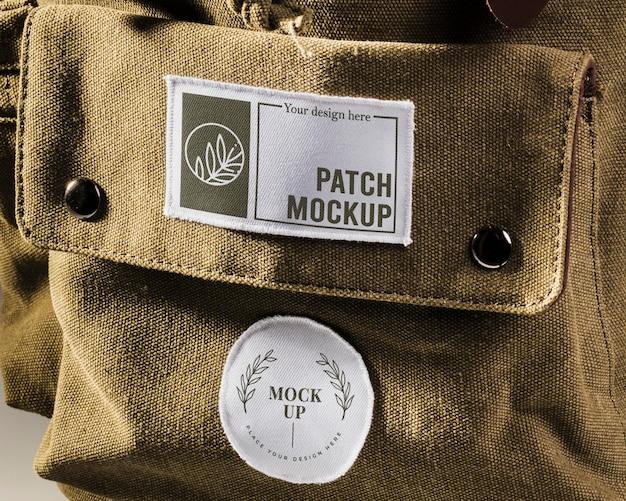 Makieta naszywki z tkaniny na plecaku