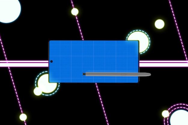Makieta neon mobile i długopis