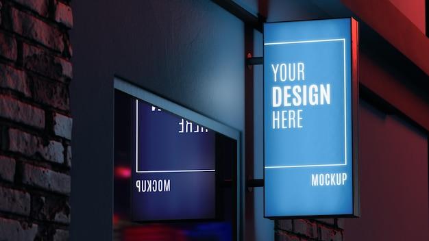 Makieta niebieski znak nocny biznes