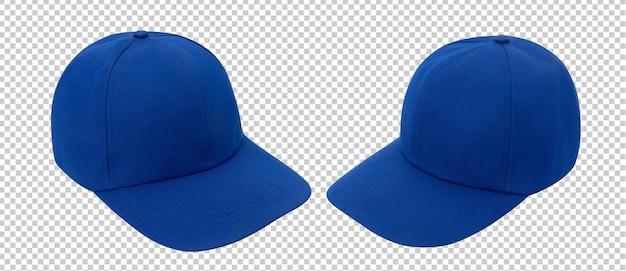 Makieta niebieskiej czapki z daszkiem na białym tle