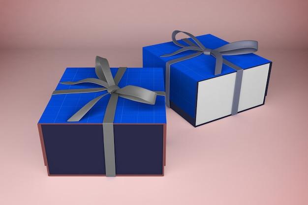 Makieta niebiesko-białych pudełek na prezenty