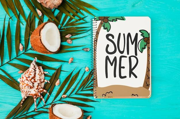 Makieta notatnik płaski świeckich z letnich elementów
