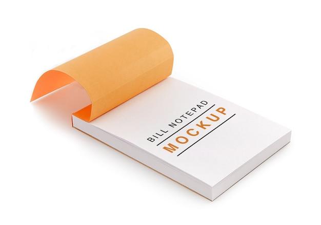 Makieta notatnika rachunku na białym tle