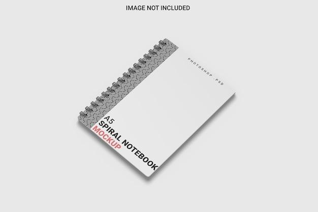 Makieta notesu spiralnego z prawej strony na białym tle