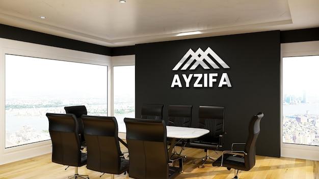Makieta nowoczesnego srebrnego logo w biurze sali konferencyjnej z czarną ścianą