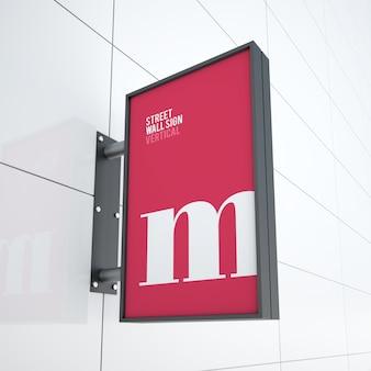 Makieta nowoczesnej pionowej tablicy wiszącej z logo