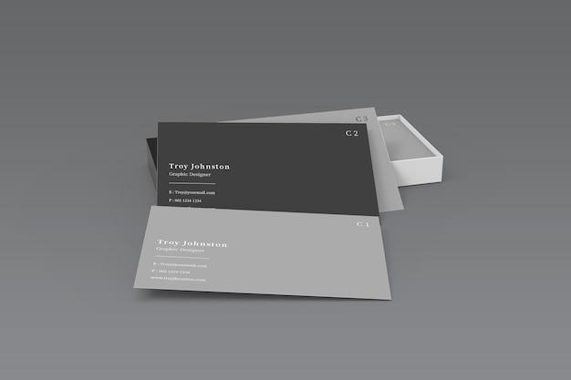 Makieta nowoczesnej wizytówki z pudełkiem