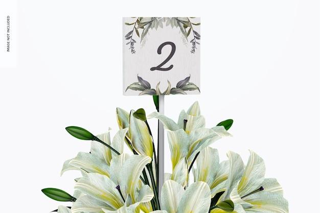 Makieta numeru stołu weselnego, widok z przodu