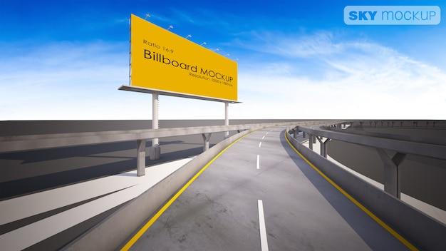 Makieta obraz 3d renderowania billboard obok autostrady.