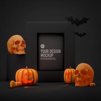 Makieta obrazu w ramce halloween obok dyni, czaszki i nietoperzy
