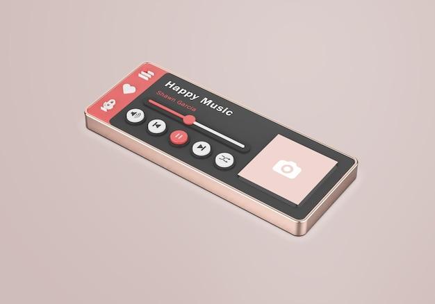 Makieta odtwarzacza multimedialnego z interfejsem 3d w kolorze różowego złota