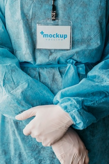 Makieta odzieży medycznej i karty identyfikacyjnej