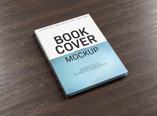 Makieta okładki książki na powierzchni drewnianych