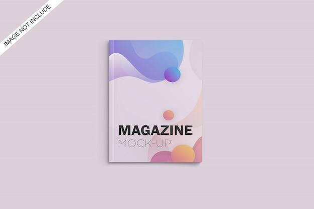Makieta okładki magazynu a4 widok z góry kąt premium psd