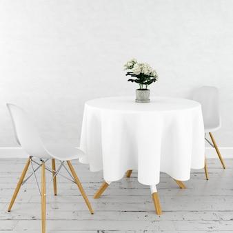 Makieta okrągłego stołu z białym obrusem i nowoczesnymi krzesłami