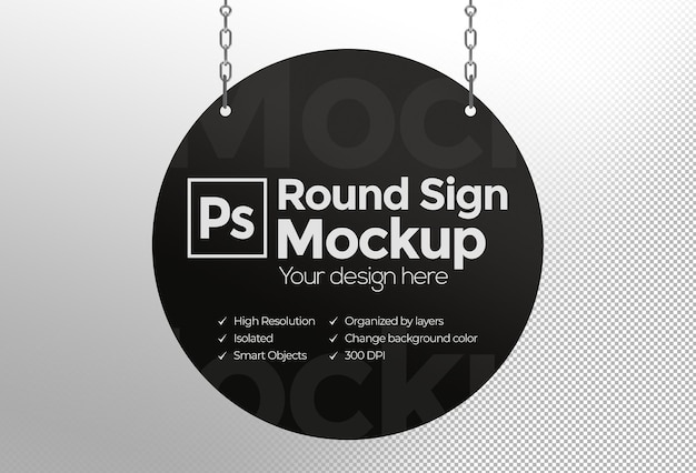 Makieta okrągłego znaku z łańcuchami do reklamy lub marki