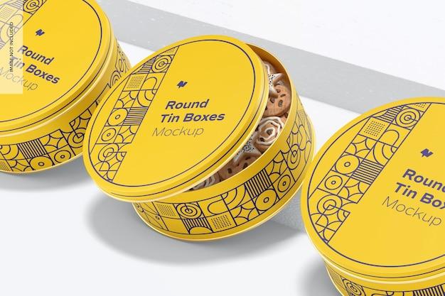 Makieta okrągłych blaszanych pudełek
