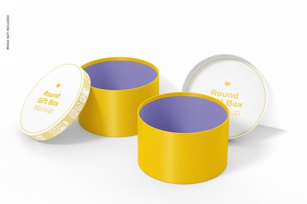 Makieta okrągłych pudełek na prezenty, otwarte