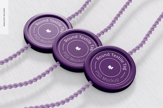 Makieta okrągłych tagów tekstylnych