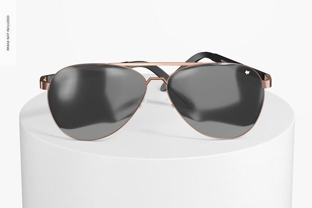 Makieta okularów przeciwsłonecznych aviator, widok z przodu