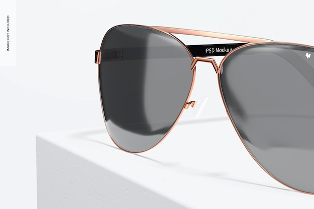 Makieta okularów przeciwsłonecznych aviator, zbliżenie