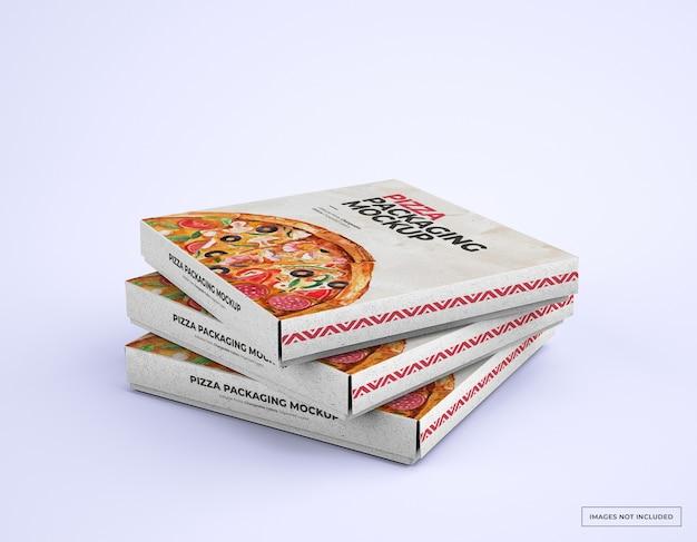 Makieta opakowań do pizzy ułożonych w stos z edytowalnym projektem