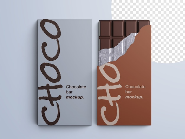 Makieta opakowania czekolady na białym tle
