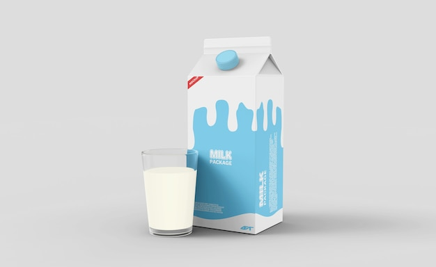 Makieta opakowania kartonowego mleka