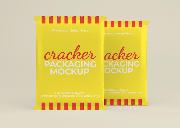 Makieta opakowania krakersów lub saszetek z przekąskami