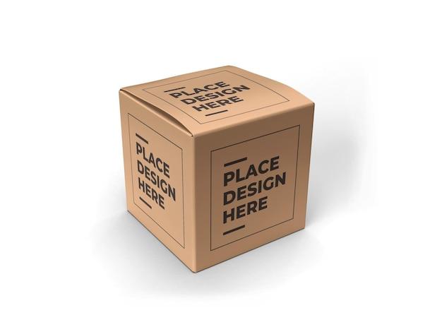 Makieta opakowania kwadratowego pudełka na białym tle