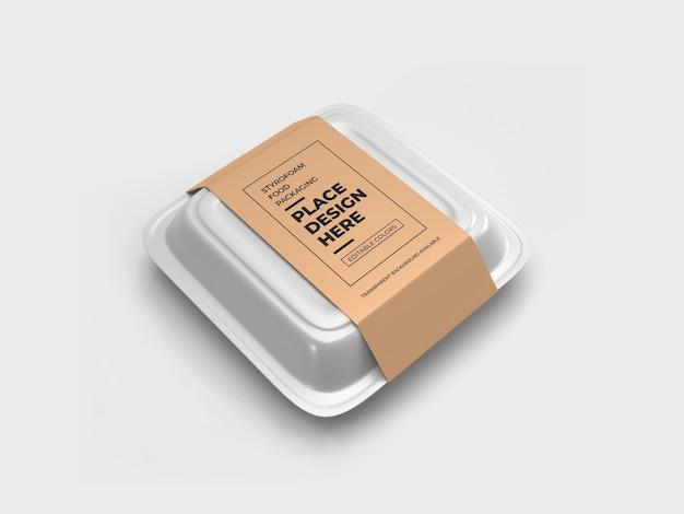 Makieta opakowania na żywność ze styropianu na białym tle