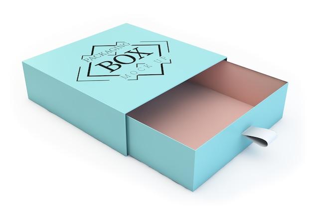 Makieta opakowania niebieskie pudełko na białym tle