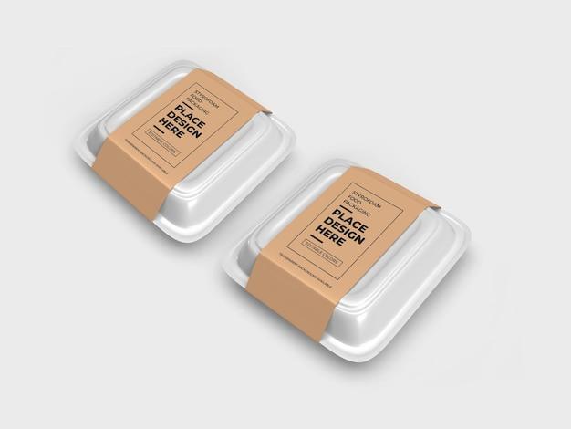 Makieta opakowania styropianowego pudełka na żywność