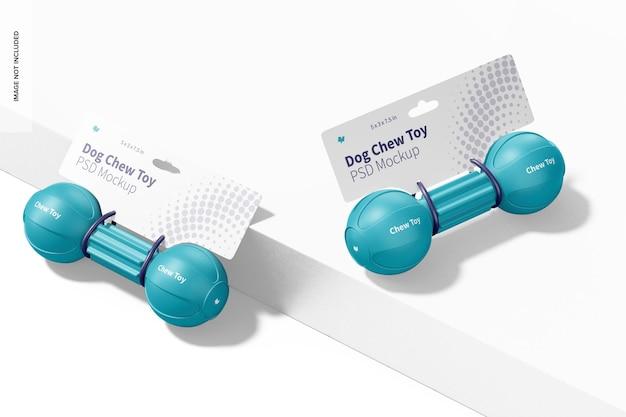Makieta opakowania zabawek ze sztangą dla psa, widok z prawej i lewej strony