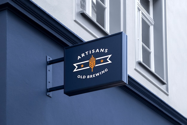 Makieta outdoor street urban czarny prostokątny 3d logo znak wiszący na fasadzie