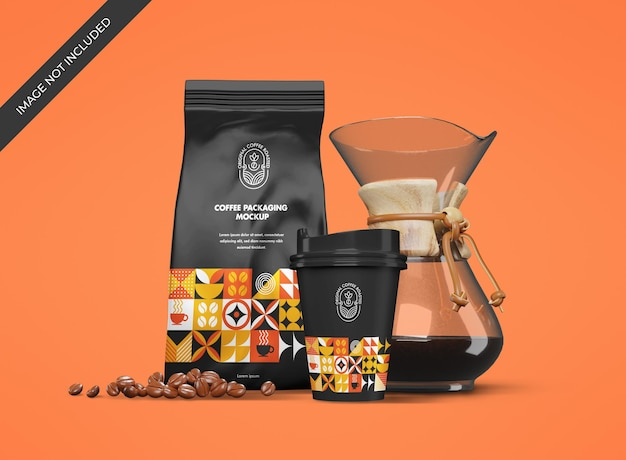 Makieta papeterii z woreczkiem i kubkiem dla marki kawiarni