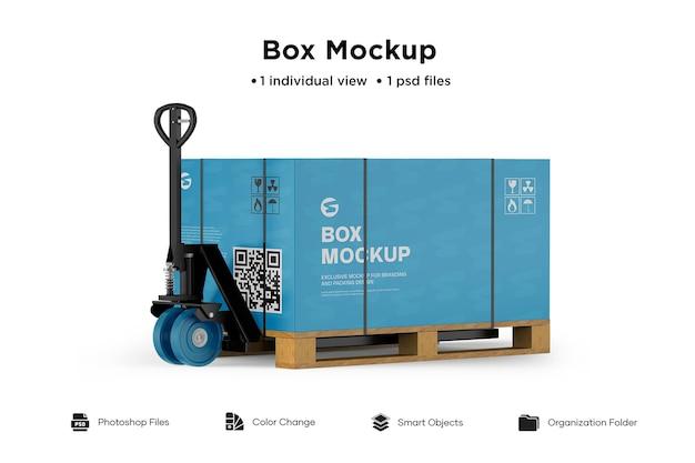 Makieta papierowego pudełka na wózki paletowe