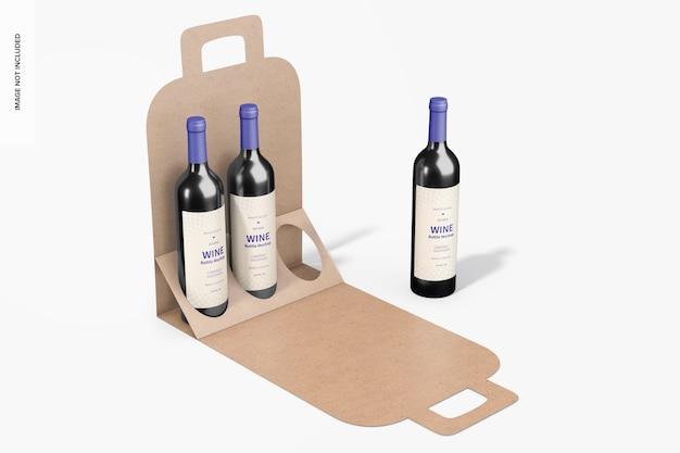 Makieta papierowego pudełka z małą butelką wina, otwarta