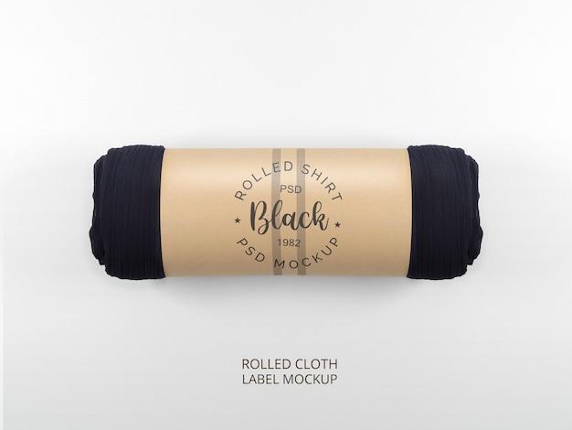 Makieta papierowej etykiety na czarną tkaninę w rolce