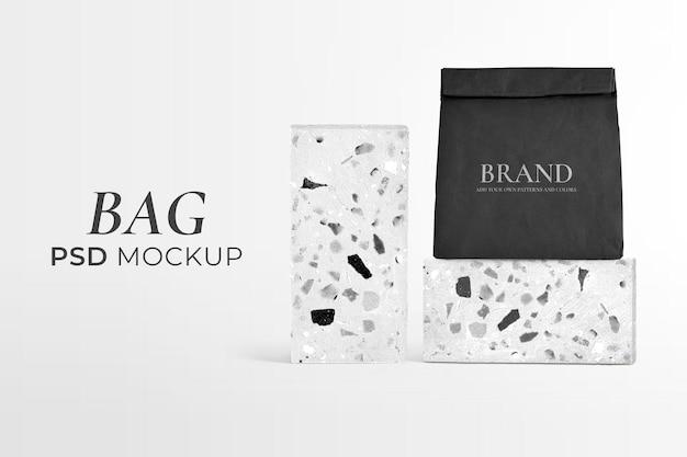 Makieta papierowej torby wielokrotnego użytku psd zwinięta w wzór lastryko