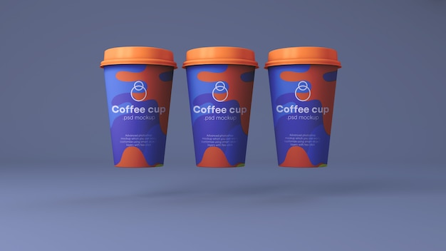 Makieta papierowych filiżanek do kawy psd